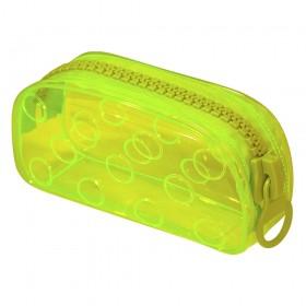 Estojo Escolar DAC Grande em PVC Cristal Translúcido BUBBLE Verde
