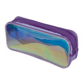 Estojo escolar DAC em PVC Cristal holográfico Glow Roxo