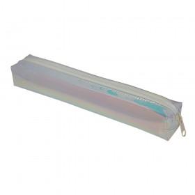 Estojo escolar DAC em PVC Cristal holográfico Metal Branco