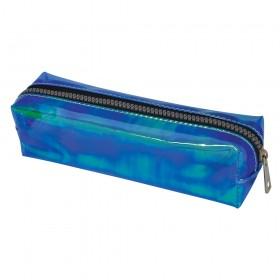 Estojo escolar DAC em PVC Cristal holográfico Shine Azul