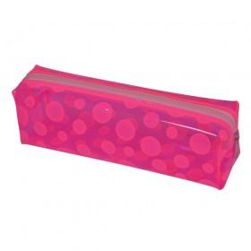 Estojo escolar DAC em PVC Cristal Translúcido Color Circle Rosa